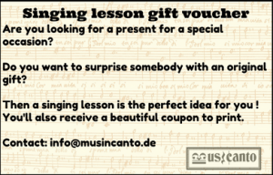 Singing lesson gift voucher